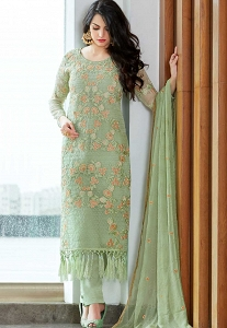 Sea Green Organza Embroidered Trouser Style Suit - 409