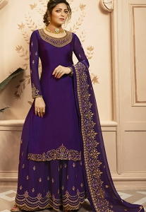 Drashti Dhami Blue Shade Georgette Satin Embroidered Sharara Suit - 4209