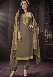 Grey Georgette Straight Churidar Style Suit - 422