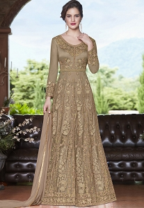 Beige Net Embroidered Lehenga Style Anarkali Suit - 4508