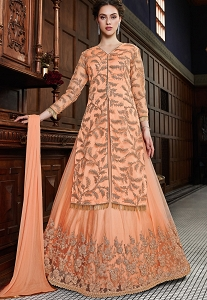 Peach Net Embroidered Jacket Style Lehenga Anarkali Suit - 4536