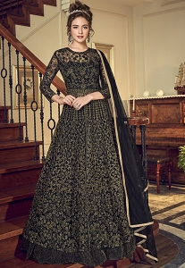 Black Net Embroidered Lehenga Style Anarkali Suit - 4534
