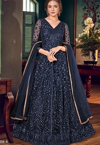 Navy Blue Net Embroidered Lehenga Style Anarkali Suit - 4556A
