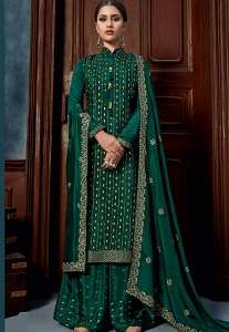 Dark Green Chinnon Straight Palazzo Suit - 4606