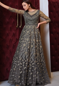 Dark Grey Net Embroidered Long Anarkali Suit - 4625