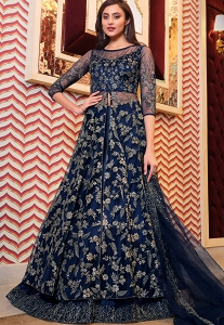 Dark Blue Net Embroidered Front Slit Lehenga Style Anarkali Suit - 4629