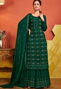 Green Chinon Embroidered Straight Palazzo Suit - 4646