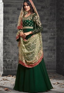 Green Georgette Long Embroidered Anarkali Suits - 49005
