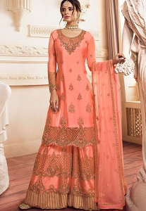 Peach Satin Georgette Embroidered Palazzo Suit - 4903