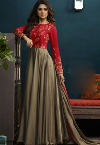 Jennifer Winget Steal Grey & Red Silky Georgette Long Anarkali Suit - 5019