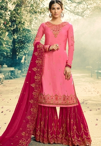Pink Satin Georgette Embroidered Sharara Suit - 5043