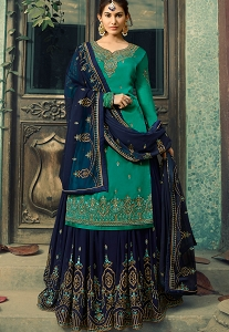 Turquoise Satin Georgette Embroidered Sharara Suit - 5044