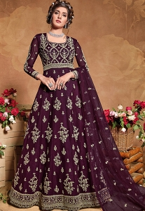 Purple Net Embroidered Floor Length Anarkali Suit - 5105