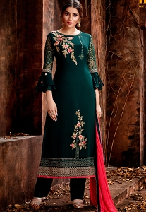 Dark Green Georgette Embroidered Trouser Style Pakistani Suit - 5122
