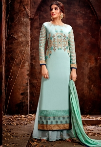 Sky Green Georgette Embroidered Palazzo Style Pakistani Suit - 5127