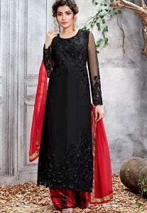 Black Net Embroidered Straight Palazzo Style Suit - 5154