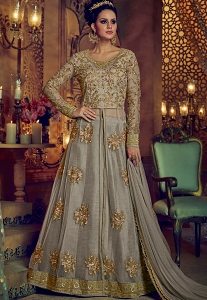 Grey Net Center Slit Lehenga Style Anarkali Suit - 5202