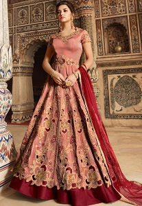 Peach & Maroon Tafetta Silk Embroidered Lehenga Style Anarkali Suit - 5301