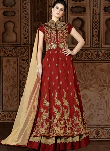 Maroon Silk Embroidered Floor Length Anarkali Suit