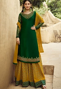 Green &  Yellow Satin Georgette Sharara Style Suit - 5407