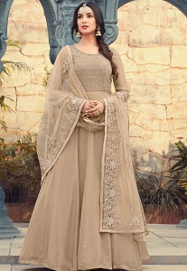 Sonal Chauhan Beige Georgette Long Anarkali Suit - 5502
