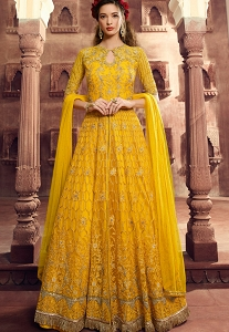 Bright Yellow Net Embroidered Long Anarkali Suit - 5507