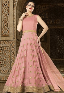 Pink Shade Silk Floor Length Anarkali Suit - 5604