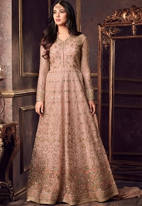 Sonal Chauhan Peach Net Floor Length Heavy Anarkali Suit - 5605