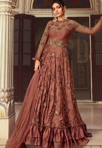Rust Art Silk Embroidered Floor Length Anarkali Suit - 5605