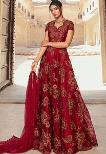 Maroon Net Satin Embroidered Floor Length Anarkali Suit - 5606