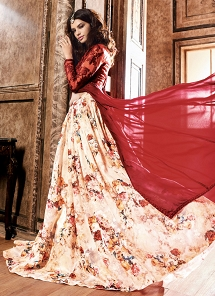 Charming Red & Cream Georgette Lehenga Style Anarkali