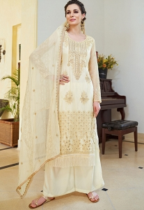 Off White Organza Embroidered Palazzo Style Pakistani Suit - 593