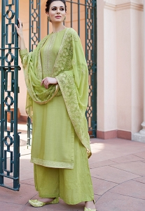 Green Maslin Resham Embroidered Palazzo Style Suit - 595