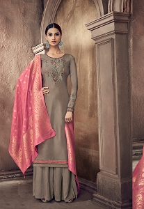 Grey Cotton Silk Resham Embroidered Palazzo Style Suit - 60