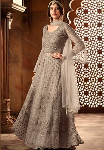 Grey Net Embroidered Lehenga Style Anarkali Suit - 60004