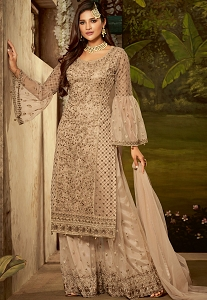 Beige Net Embroidered Sharara Style Pakistani Suit - 61006