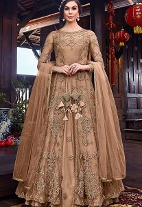 Beige Net Embroidered Floor Length Jacket Style Anarkali Suit - 6102A