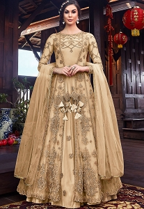 Cream Net Embroidered Floor Length Jacket Style Anarkali Suit - 6102C