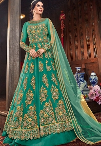 Blue Net Embroidered Lehenga Style Anarkali Suit - 6103D