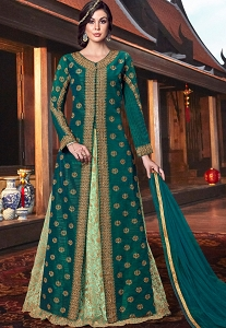 Green Handloom Silk Embroidered Jacket Style Anarkali Suit - 6105