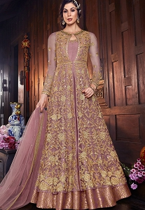 Mauve Net & Silk Embroidered Floor Length Anarkali Suit - 6107C