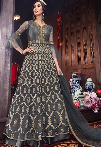 Dark Grey Net Embroidered Floor Length Anarkali Suit - 6108