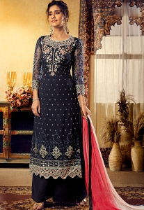 Navy Blue Georgette Straight Palazzo Suit - 6126