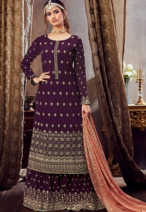 Purple Georgette Embroidered Palazzo Suit - 6166