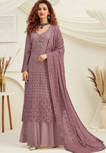 Mauve Viscose Chinnon Straight Embroidered Palazzo Suit - 6181