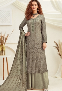 Grey Viscose Chinnon Embroidered Palazzo Suit - 6186
