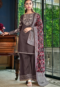 Dark Grey Satin Straight Palazzo Suit - 6204