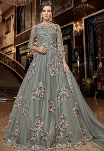 Grey Net Embroidered Long Anarkali Suit - 6302