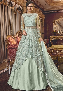 Silver Grey Net Embroidered Lehenga Style Anarkali Suit - 6309