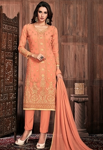 Peach Georgette Straight Trouser Suit - 32002